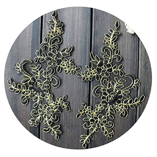 10Pcs 2512.5Cm Embroidered Lace Applique Lace Trim for DIY Wedding Dress Many Colors for Choice,Black with Gold