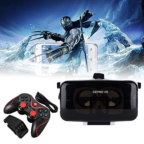 """XCSOURCE VR Headset Virtual Reality 3D Glasses with Stereo Headphones + Bluetooth Gamepad for Film and Video Games ,Compatible with 4.7""""-6.0"""" Smartphones AC613"""