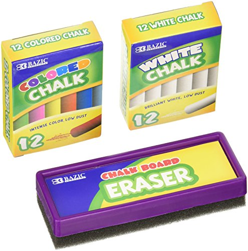 Chalk and Eraser Set - Comes with Colored and White Chalk. by Basic