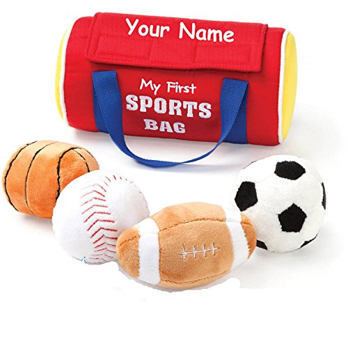First Sports Bag Playset - Personalized GUND My First Sports Bag Plush Stuffed Baby Playset with Mini Plush Sports Balls