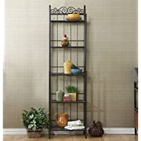 K&A Company Narrow Wrought Iron Bakers Black Storage Finish Scroll Kitchen Corner Shelf Work Wood Baker Indoor Rack with 5 Shelves