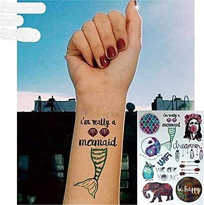Elefante Búho Yingyang sirena Tatuajes para pegar para cuerpo PT06 ...
