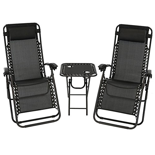 Matts Global Zero Gravity 3-Piece Camping Chairs Table Set Weather-Resistant Texteline Fabric Rust Resistant (Black)