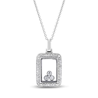 970592e27b707d Image Unavailable. Image not available for. Color: 0.30 Ct. Natural Diamond  Floating in Glass Rectangular Pendant in Solid 14k White Gold