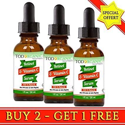 Todorganic Vitamin C & Retinol Serum - Producto Facial Profesional - 100% Natural Para El