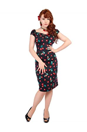 1bc85bd133f Image Unavailable. Image not available for. Color  Collectif Black Cherry  1950s Dolores Wiggle Dress