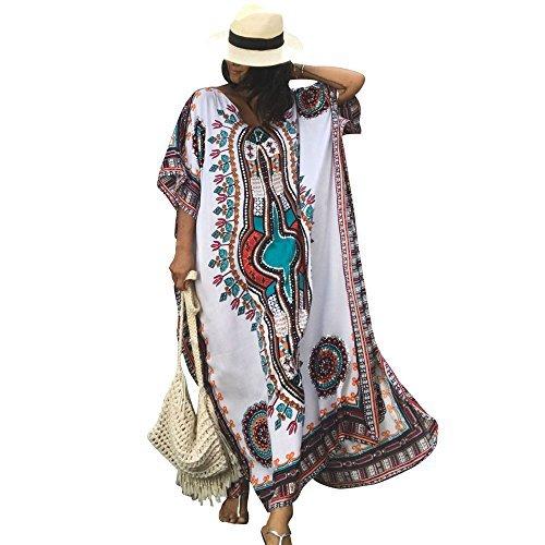 - Women's White Ethnic Print Kaftan Maxi Dress Summer Beach Dress, White, One Size