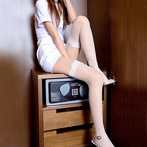 Broadfashion Womens Sexy Lace Top Fishnet Stockings Socks (White)