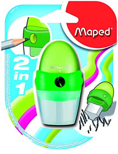: Maped Astro 2 in 1 Sharpener/Eraser, Assorted Colors (048010US)