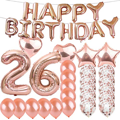 Sweet 26th Birthday Decorations Party Supplies,Rose Gold Number 26 Balloons,26th Foil Mylar Balloons Latex Balloon Decoration,Great 26th Birthday Gifts for Girls,Women,Men,Photo Props]()