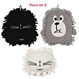 Microfiber Chenille Dusting Mitts Glove Cute Cat Bear Large (Pack of 3) Novelty Gift Set for Dad Mom Family
