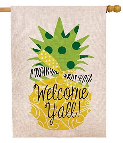 Dyrenson Decorative Double Sided Pineapple Large House Flag Burlap Yellow Welcome Yall Quote, House Yard Flag, Garden Yard Decorations, Home Seasonal Outdoor Flag 28 x 40 Spring Summer (Pineapple House Welcome)
