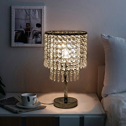 Hile Lighting KU300085 Chrome Round Crystal Chandelier Bedroom ...