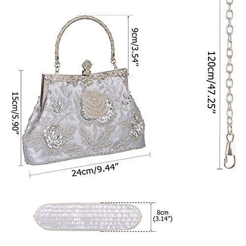 Wedding Clutch Bag Evening Baglamor Sequin Style Purse Vintage Beaded Party Women's Sequined Silver Roses Clutch wBnTntqPS