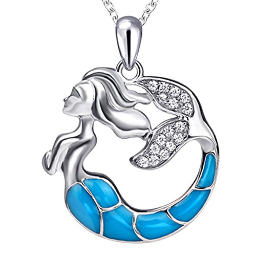 Apotie Sterling 925 Silver Charm Sea Daughter Mermaid Pendant Necklace Jewelry Gifts for Women or Girls ()