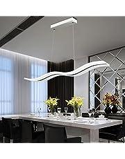 Lampa wisząca LED, nowoczesna, sufitowa, w kształcie fali, z regulacją wysokości, możliwość ściemniana za pomocą pilotem zdalnego sterowania, do jadalni, salonu, sypialni, 36 W (przyciemniana)