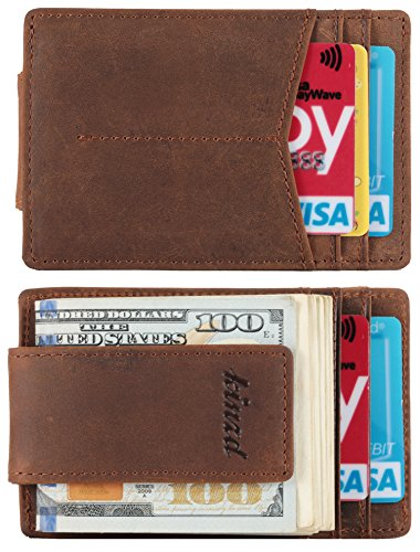 Mens Money Clip, Crazy Horse Slim Wallet with RFID Blocking and Strong Magnet