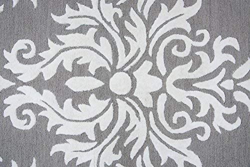 Rizzy Home Eden Harbor Collection Wool Viscose Area Rug, 3 x 5 , Heayher Gray Gray Rust Blue Ornamental