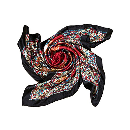 Price comparison product image Kook Club Women's Silk Feeling Head Scarf for Sleeping Headband Headdress 8 Black Side One Piece