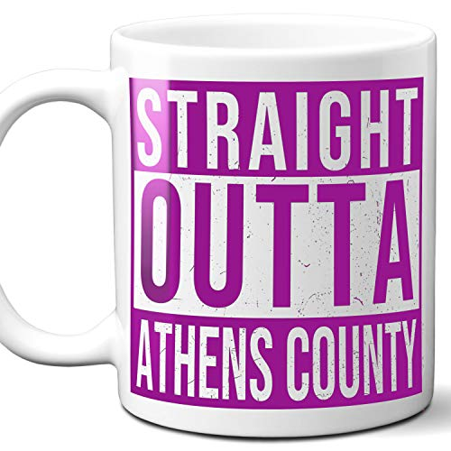Straight Outta Athens County USA Souvenir Mug Gift. Love City Town Lover Coffee Unique Cup Men Women Birthday Mothers Day Fathers Day Christmas. Purple. 11 oz.