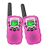 Kids Walkie Talkies Mini Two Way Radios for Boys Girls Children Toys Long Range Handheld UHF 462-467 MHz Frequency 22 Channels Camping Hiking ( 1 Pair Pink