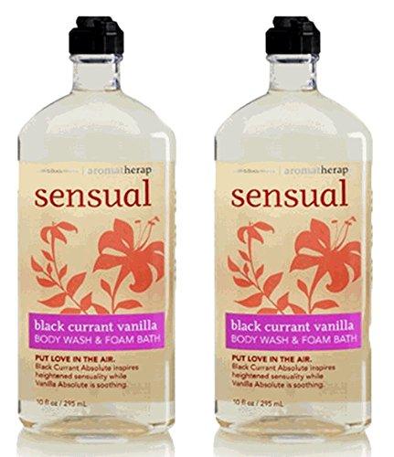 Bath and Body Works, Aromatherapy Sensual Black Currant Vanilla Body Wash Foam Bath 10oz. per bottle 2 Pack