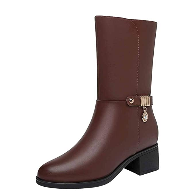 fa62a8dae Miss Li Botines De Cuero Para Mujer Zapatos De Cuero Y De Invierno Para  Mujer Calzado