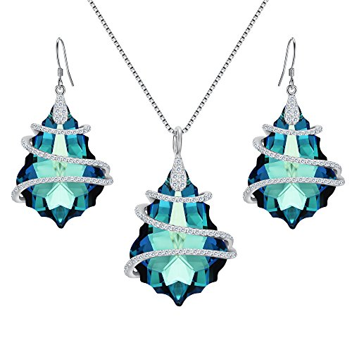 (EVER FAITH 925 Sterling Silver CZ Baroque Pendant Necklace Earrings Set Bermuda Blue Adorned with Swarovski Crystals)