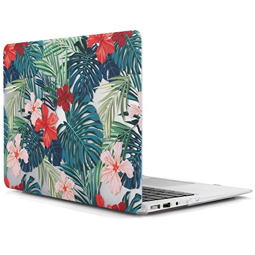 iDOO Soft Touch Hard Plastic Matte Case for MacBook Air 13 inch Model A1369 and A1466 - Tropical Palm Leaves with Red Flowers