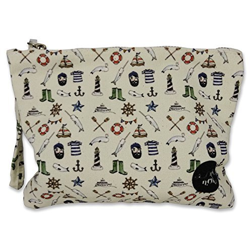 Printed Canvas Pouch, Mini Card Holder, Coin Purse with Zipper in Pirate Pattern - 035