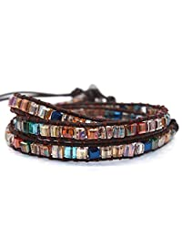 Handmade Women Genuine Leather Wrap Bracelet Bangle Cuff Rope Beads Adjustable