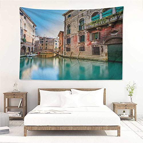 (alisos Venice,Wall Hanging Tapestry Traditional Italian Water Canal Romantic Cityscape Famous Travel Destination 93W x 70L Inch Digital Printing Tapestry Teal Red Grey)