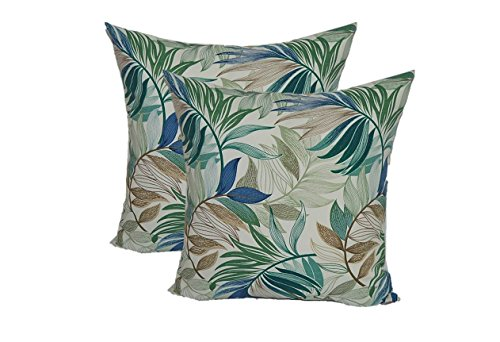 Set of 2 - Indoor / Outdoor Square Decorative Throw / Toss Pillows - White, Blue, Teal, Green, Tan Tropical Palm Leaf - Choose Size (20