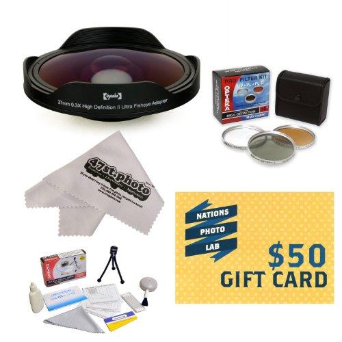 Opteka Platinum Series 0.3X HD Ultra Fisheye Lens for Canon VIXIA HF21, HF R20, HF R200, HF M30, HF M31, HF M32, HF M300 & ZR960 - Includes Bonus 3 Piece Filter Kit (UV, CPL, FLD) + Deluxe Lens Cleaning Kit + LCD Screen Protectors + Mini Tripod + 47stphoto Microfiber Cloth Photo Print !