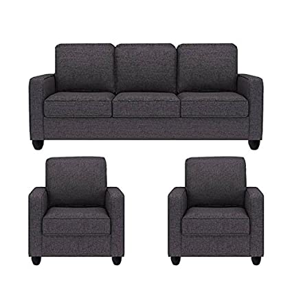 Sofas Jute Fabric Five Seater Sofa Set 3 1 1 Grey Crystal Amazon In Home Kitchen