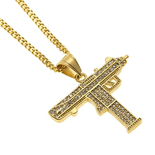 AOVR Hip Hop CUBAN LINK Chain 14k Gold Silver Plated CZ CRYSTAL Fully Iced-Out Submachine Gun Pendant (Gold)]()