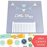 JubyJoy First Year Baby Memory Book – Bonus 12 Monthly Milestone Stickers + Keepsake Envelope, Baby Shower Gift Set for Expecting Parents | Boy & Girl Babies – Photo Album, Journal & 5 Year Scrapbook
