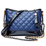 MUMUWU 2018 New Women's Shoulder Bag Leather Double Chain Messenger Bag Color Matching Wandering Bag Fashion Bag (Color : Blue, Size : M)