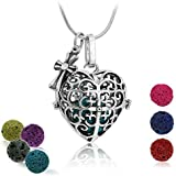 """Premium Heart Aromatherapy Essential Oil Diffuser Necklace Locket Pendant and 7 Colours Lava Stone Beads with Adjustable 24"""" Chain Perfect Gift Set [Classical]"""