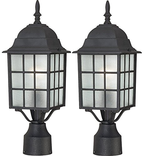 (Nuvo Lighting 60/4909 Adams One Light Post Lantern 100 Watt A19 Max. Frosted Glass Textured Black Outdoor Fixture (Textured Black, 2 Pack))