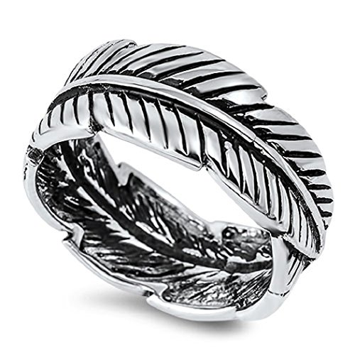 925 Sterling Silver Eternity Feather Ring Size 8 - Sterling Silver Quill