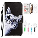 STENES Wallet Phone Case Compatible with Samsung Galaxy A20 / A30 - Stylish Series Curious Cat Design Stand Leather Cover with Screen Protector & Cable Protector - Black