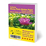 Galada Glossy Photo Sticker Paper 100 Sheets 4x6 Sticker Photo Paper High Glossy Vivid Color Waterproof Photographic Paper Works with All Inkjet Printers