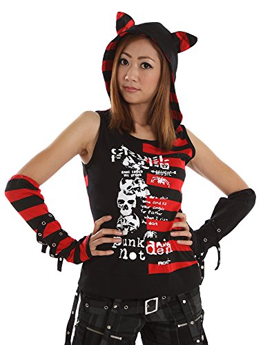 Lolita Charm Cat Hooded Tank-Blk and Red