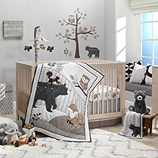Lambs & Ivy Woodland Forest Animal Nursery 5-Piece Baby Crib Bedding Set - Gray