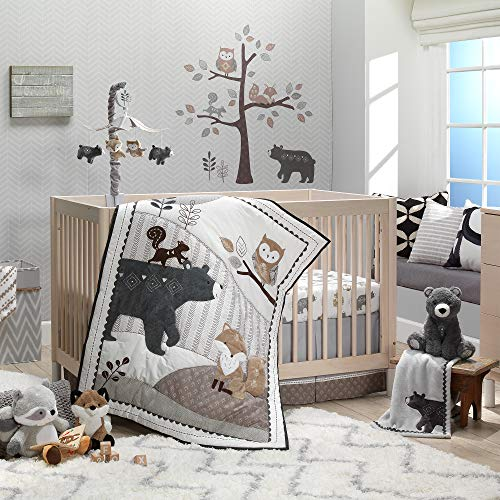 Lambs & Ivy Woodland Forest Animal Nursery 5-Piece Baby Crib Bedding Set – Gray