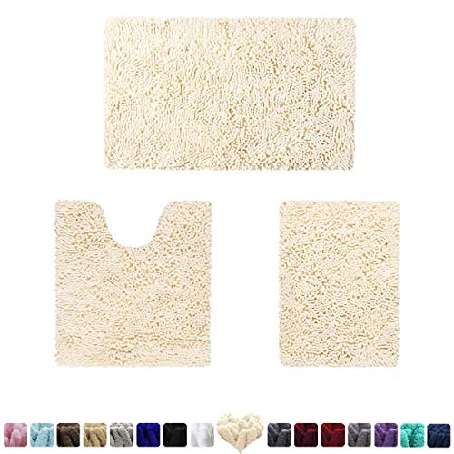 HOMEIDEAS 3 Pieces Bathroom Rugs Set Ivory, Luxury Soft Chenille Bath Mats Set, Absorbent Shaggy Bath Rugs & Slip Resistant Plush Bath Mats for Tub, Shower, Bathroom