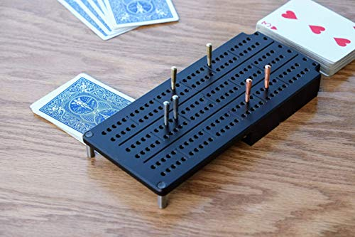 Travel Cribbage Board made of Durable Aluminum - 3 Track, Collapsible, holds your Deck of Cards (Board Aluminum Cribbage)