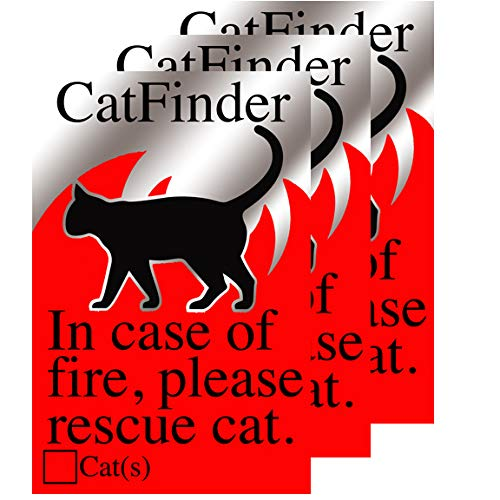 KC Creations Cat Pet Alert Rescue Stickers Pack of Three Stickers Fire and Emergency Pet Notification - Adhesive -