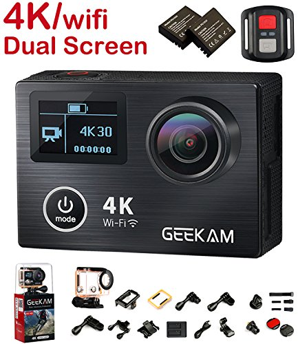 Action Camera, 2017 New 4K 30Fps 14MP Ultra HD Sport Camcorder with Panasonic CMOS Dual Display Screen Aluminium Alloy Front Cover HDMI Wifi 2.4G Remote Control 170 Degree Wide Angle 19 Mounting Kits